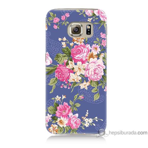 Bordo Samsung Galaxy S6 Renkli Çiçekler Baskılı Silikon Kapak Kılıf