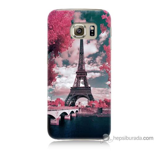 Bordo Samsung Galaxy S6 İlkbahar Paris Baskılı Silikon Kapak Kılıf