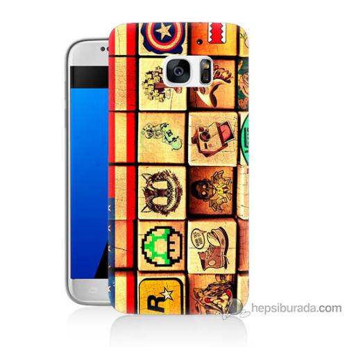 Bordo Samsung Galaxy S7 Amerikan Oyunları Baskılı Silikon Kapak Kılıf