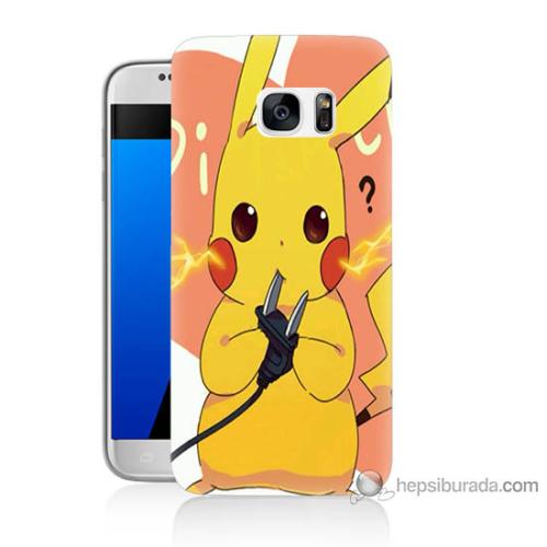 Bordo Samsung Galaxy S7 Düşünen Pikachu Baskılı Silikon Kapak Kılıf