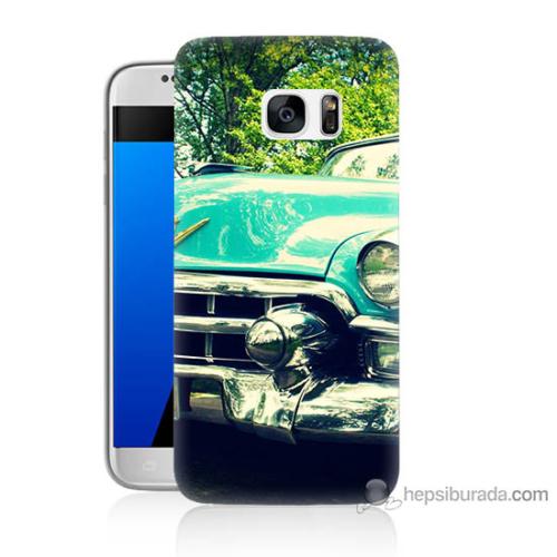 Bordo Samsung Galaxy S7 Klasik Araba Baskılı Silikon Kapak Kılıf