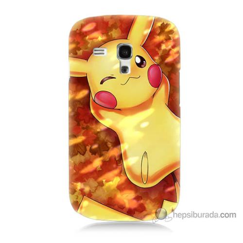 Bordo Samsung Galaxy S3 Mini Yatan Pikachu Baskılı Silikon Kapak Kılıf