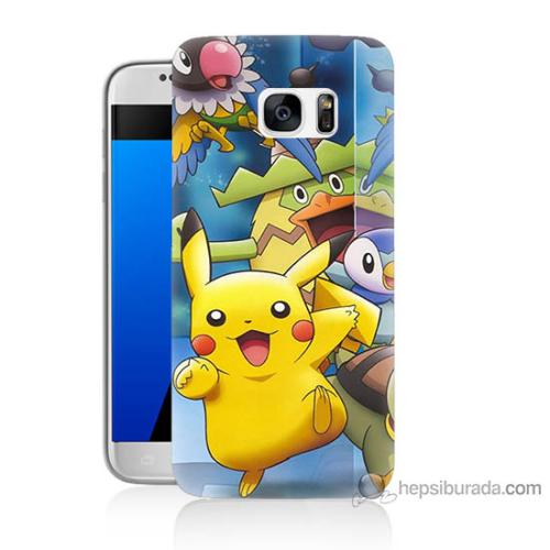 Bordo Samsung Galaxy S7 Pikachu Ve Arkadaşları Baskılı Silikon Kapak Kılıf