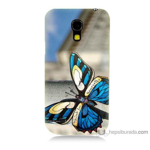 Bordo Samsung Galaxy S4 Mini Mavi Kelebek Baskılı Silikon Kapak Kılıf