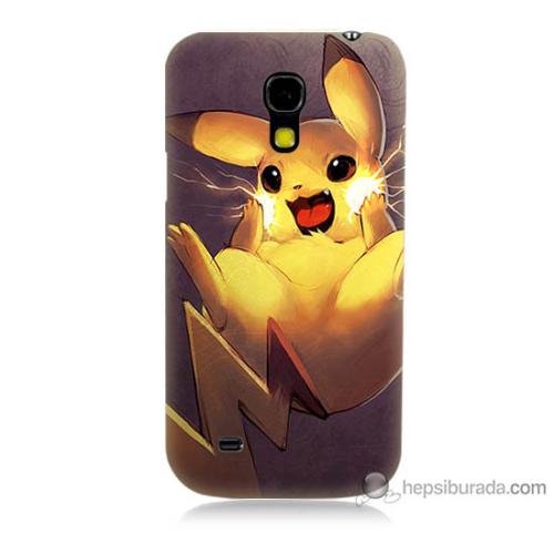 Bordo Samsung Galaxy S4 Mini Elektro Pikachu Baskılı Silikon Kapak Kılıf