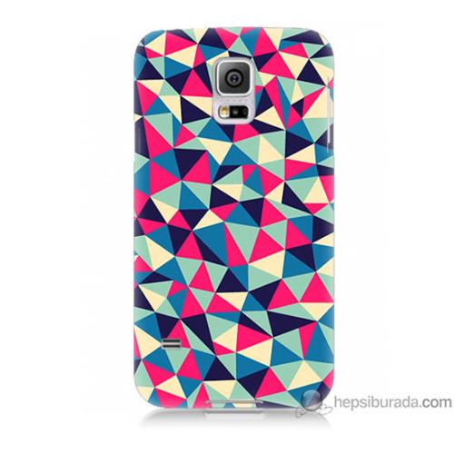 Bordo Samsung Galaxy S5 Mini Renkli Üçgenler Baskılı Silikon Kapak Kılıf