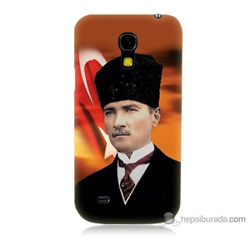 Bordo Samsung Galaxy S4 Mini Atatürk Ve Bayrak Baskılı Silikon Kapak Kılıf