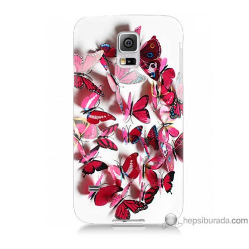 Bordo Samsung Galaxy S5 Mini Pembe Kelebekler Baskılı Silikon Kapak Kılıf