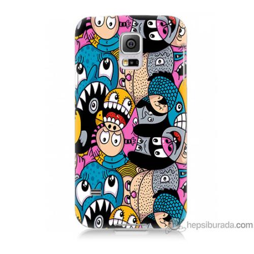 Bordo Samsung Galaxy S5 Mini Renkli Ahtapotlar Baskılı Silikon Kapak Kılıf
