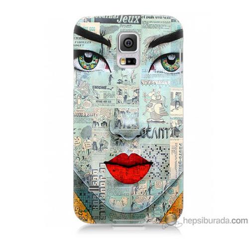 Bordo Samsung Galaxy S5 Mini Karikatür Yüz Baskılı Silikon Kapak Kılıf