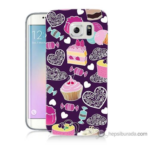 Bordo Samsung Galaxy S6 Edge Renkli Pastalar Baskılı Silikon Kapak Kılıf