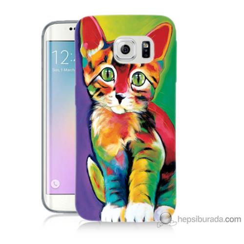 Bordo Samsung Galaxy S6 Edge Resim Kedi Baskılı Silikon Kapak Kılıf