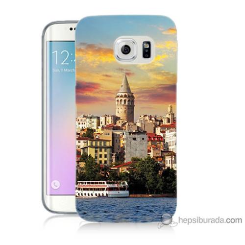 Bordo Samsung Galaxy S6 Edge İstanbul Galata Baskılı Silikon Kapak Kılıf