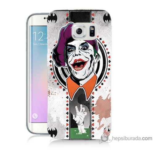 Bordo Samsung Galaxy S6 Edge Joker Baskılı Silikon Kapak Kılıf