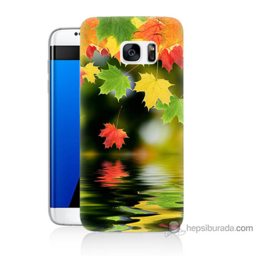 Bordo Samsung Galaxy S7 Edge Renkli Yaprak Baskılı Silikon Kapak Kılıf