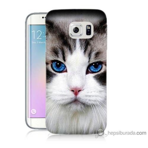 Bordo Samsung Galaxy S6 Edge Maviş Gözlü Kedicik Baskılı Silikon Kapak Kılıf