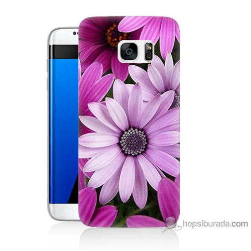 Bordo Samsung Galaxy S7 Edge Mor Çiçek Baskılı Silikon Kapak Kılıf