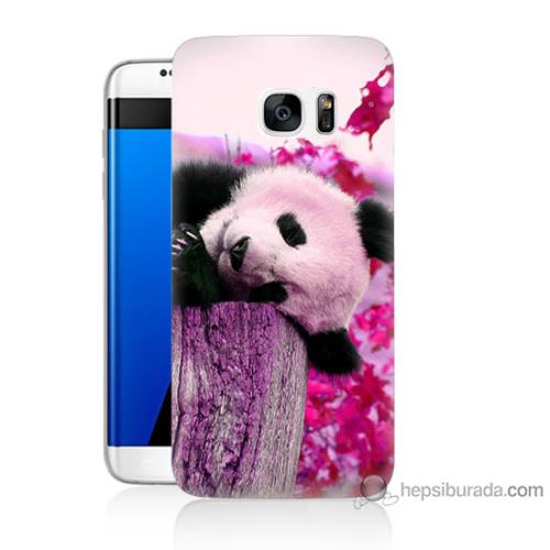 Bordo Samsung Galaxy S7 Edge Sevimli Panda Baskılı Silikon Kapak Kılıf