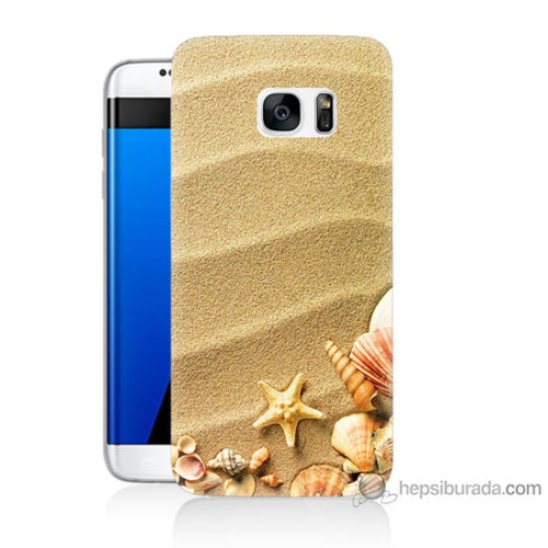 Bordo Samsung Galaxy S7 Edge Deniz Yıldızı Baskılı Silikon Kapak Kılıf