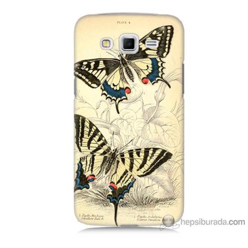 Bordo Samsung Galaxy Grand 2 Soft Kelebek Baskılı Silikon Kapak Kılıf