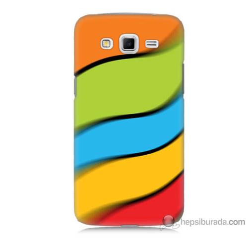 Bordo Samsung Galaxy Grand 2 Renkli Kuşaklar Baskılı Silikon Kapak Kılıf