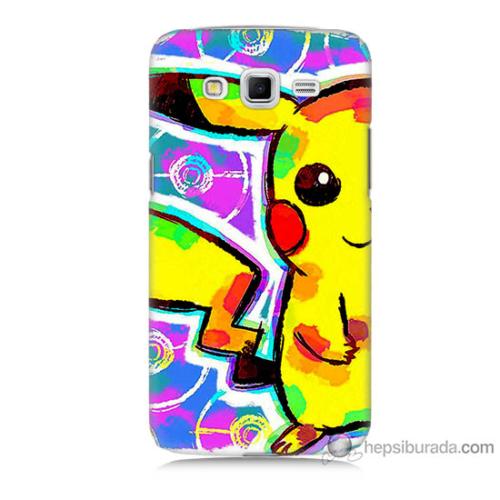 Bordo Samsung Galaxy Grand 2 Sevimli Pikachu Baskılı Silikon Kapak Kılıf