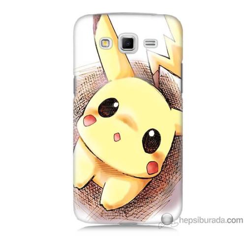 Bordo Samsung Galaxy Grand 2 Pokemon Resim Baskılı Silikon Kapak Kılıf