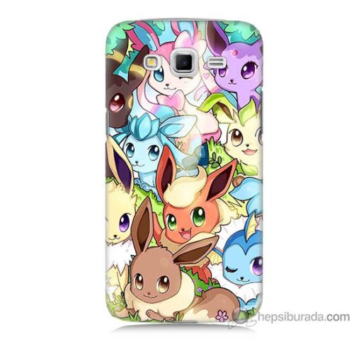 Bordo Samsung Galaxy Grand 2 Pokemon Baskılı Silikon Kapak Kılıf