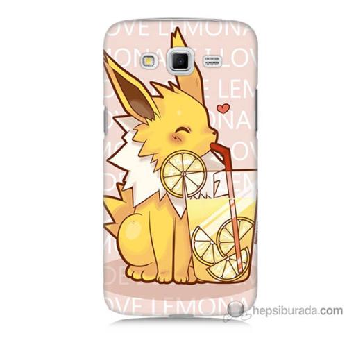 Bordo Samsung Galaxy Grand 2 Sevimli Pokemon Baskılı Silikon Kapak Kılıf