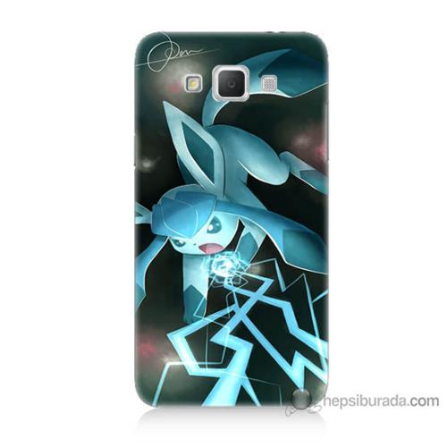 Bordo Samsung Galaxy Grand Max Şimşek Pikachu Baskılı Silikon Kapak Kılıf