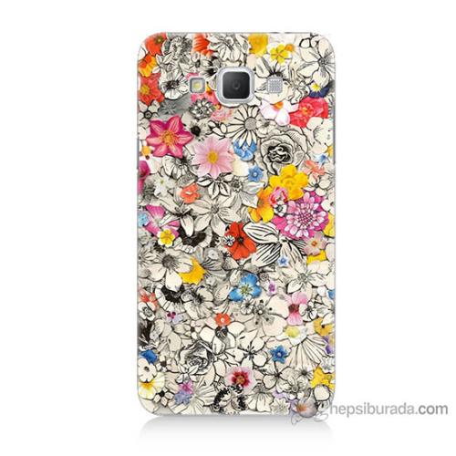 Bordo Samsung Galaxy Grand Max Renkli Çiçekler Baskılı Silikon Kapak Kılıf