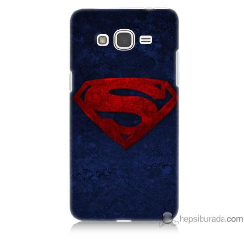 Bordo Samsung Galaxy Grand Prime Süpermen Baskılı Silikon Kapak Kılıf