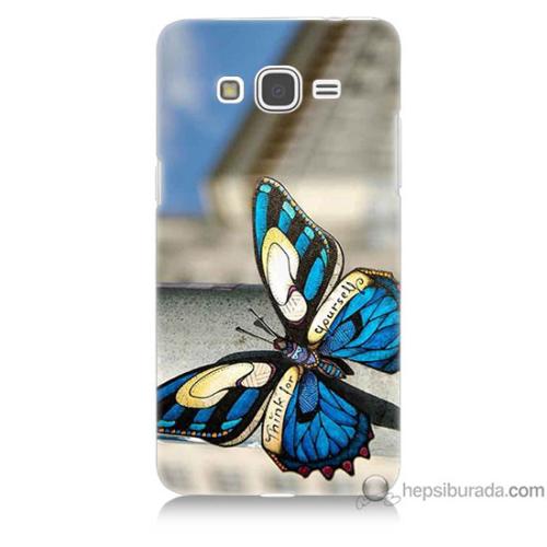 Bordo Samsung Galaxy Grand Prime Mavi Kelebek Baskılı Silikon Kapak Kılıf