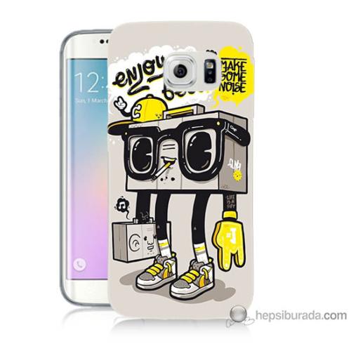 Bordo Samsung Galaxy S6 Edge Plus Teyp Adam Baskılı Silikon Kapak Kılıf
