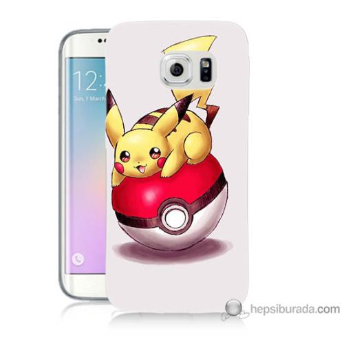 Bordo Samsung Galaxy S6 Edge Plus Pokemon Topu Baskılı Silikon Kapak Kılıf