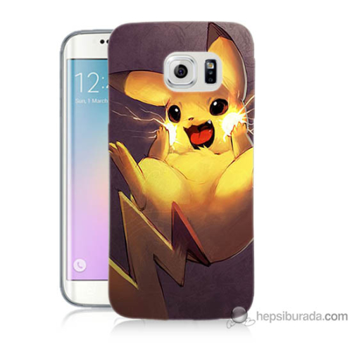 Bordo Samsung Galaxy S6 Edge Plus Elektro Pikachu Baskılı Silikon Kapak Kılıf