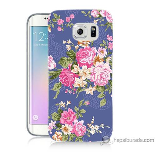 Bordo Samsung Galaxy S6 Edge Plus Renkli Çiçekler Baskılı Silikon Kapak Kılıf