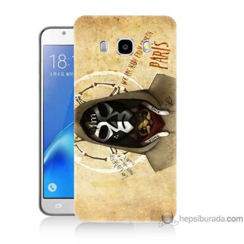 Bordo Samsung Galaxy J3 2016 Gizli Kuru Kafa Baskılı Silikon Kapak Kılıf
