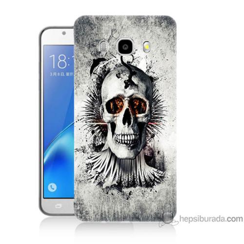 Bordo Samsung Galaxy J3 2016 Hayalet Kuru Kafa Baskılı Silikon Kapak Kılıf