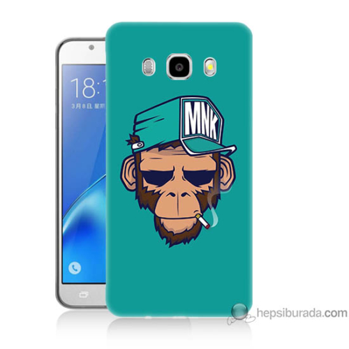 Bordo Samsung Galaxy J5 2016 Sakallı Maymun Baskılı Silikon Kapak Kılıf