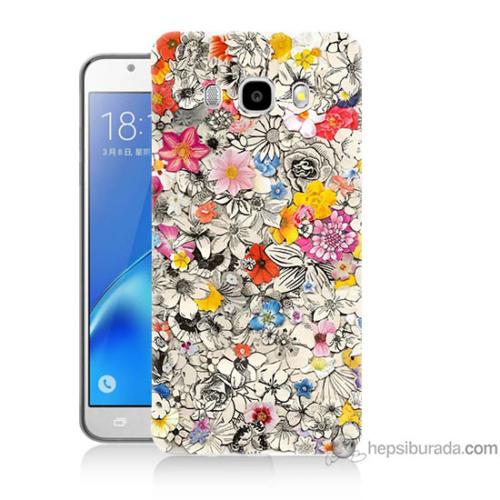 Bordo Samsung Galaxy J5 2016 Renkli Çiçekler Baskılı Silikon Kapak Kılıf