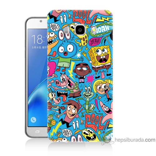 Bordo Samsung Galaxy J5 2016 Sünger Bob Baskılı Silikon Kapak Kılıf