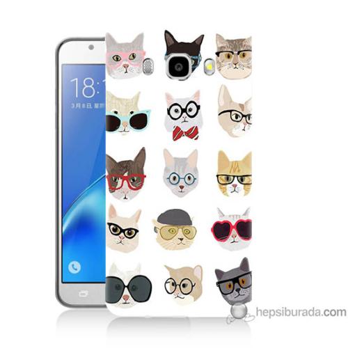 Bordo Samsung Galaxy J5 2016 Gözlüklü Kediler Baskılı Silikon Kapak Kılıf
