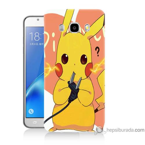 Bordo Samsung Galaxy J5 2016 Düşünen Pikachu Baskılı Silikon Kapak Kılıf