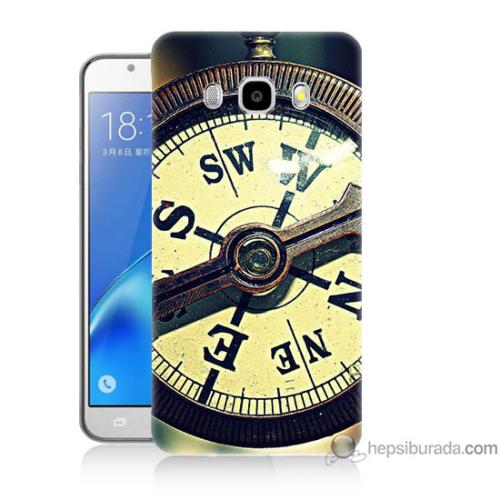 Bordo Samsung Galaxy J7 2016 Pusula Baskılı Silikon Kapak Kılıf