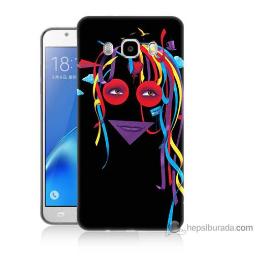 Bordo Samsung Galaxy J5 2016 Renkli Kız Baskılı Silikon Kapak Kılıf