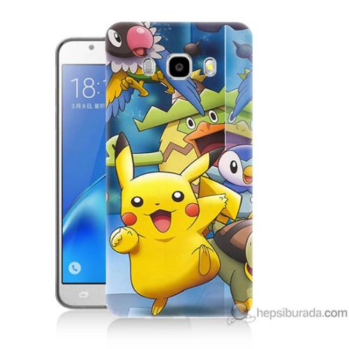 Bordo Samsung Galaxy J7 2016 Pikachu Ve Arkadaşları Baskılı Silikon Kapak Kılıf
