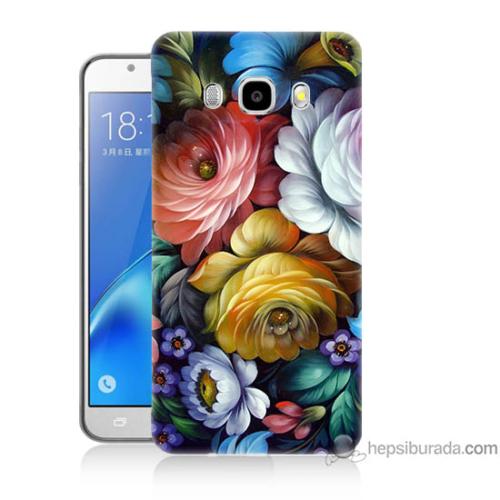 Bordo Samsung Galaxy J7 2016 Tablo Çiçekleri Baskılı Silikon Kapak Kılıf