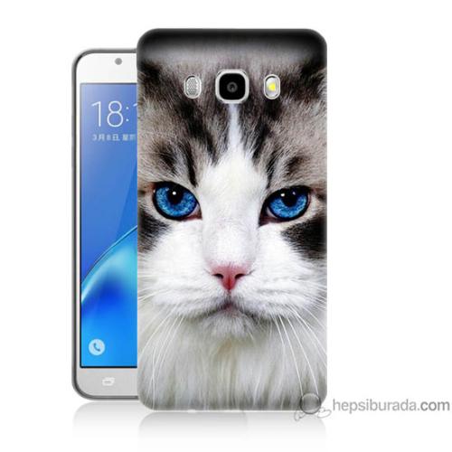 Bordo Samsung Galaxy J7 2016 Maviş Gözlü Kedicik Baskılı Silikon Kapak Kılıf