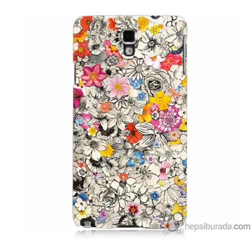 Bordo Samsung Galaxy Note 3 Neo Renkli Çiçekler Baskılı Silikon Kapak Kılıf